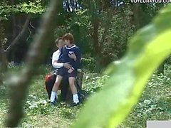 School Student Couples Sex Outdoor Exposure