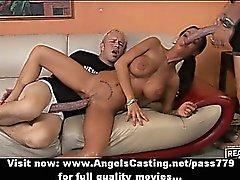 Amateur adorable brunette slut with big fake tits doing blowjob