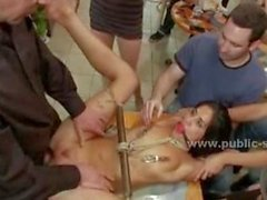 Sexy slut brought tied and naked into a public coffee shop in ext