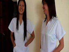 Two naughty Thai nurses take turns sucking and fucking a lucky tourist