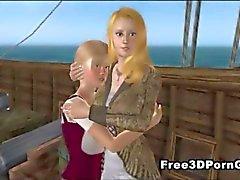 Foxy 3D tecknad blond lass suger på en kuk