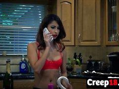 Jade Jantzen Wears Her Sexy Lingerie In Kitchen Action