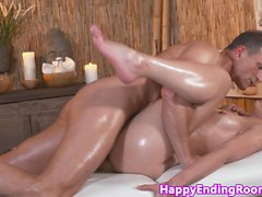 Classy massage babe fingered and fucked