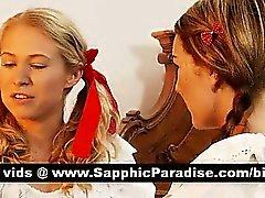 Redhead Angelico e il Lésbos bionda che bacia e leccando