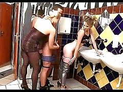 Teen femdom sex in the public toilet in some cheap bar
