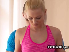 Flexible slim blonde fucking in gym