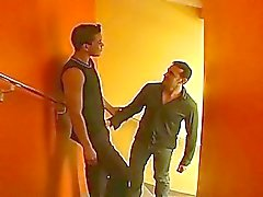 Witness hard male anal sex right on the stairs of private hotel