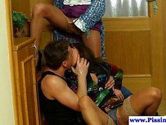 Glamour piss babe fucked in watersport trio