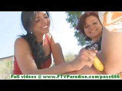 Rita and Madeline cute brunette lesbian having sex using banana