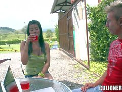 Latina Juliana displays her big natural tits outdoors