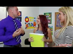 Busty blonde Capri Cavanni and redhead MILF Monique Alexander fucked in class