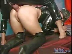 Leather and latex lovers do some freaky sex wearing their favorites