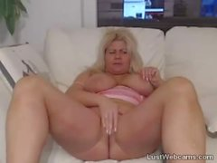 Busty blonde Milf plays with her pussy on webcam