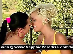 Lovely brunette and blonde lesbos kissing and having lesbo love