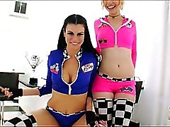 Race car girls Proxy Paige and Sea J Raw take turns getting anal fucked