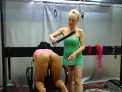 Dirty blonde enjoys some hard BDSM spanking