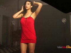 Sensual Indian Babe Shanaya Red Lingerie Striptease