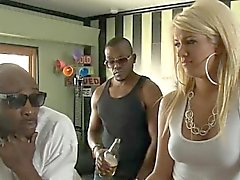 Horny blonde Layla Price double pounded with big black cocks