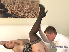 Hairy brunette mature lady fucking in bed