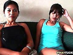 Two Filipina Bargirls Sucking One White Dick