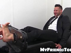 Tone bodied Yoel laughs hard gets his feet and toes tickled