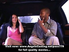 Amateur lovely brunette girl talking and undressing in a car