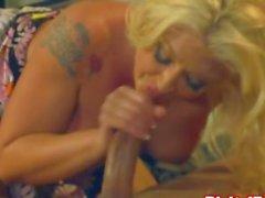 Busty blonde goddess rides a cock