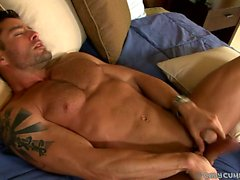 Cody Cummings jerks his massive meat and cums on a mirror