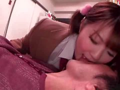 Busty pigtailed Japanese fucked