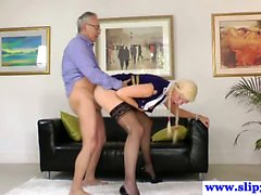 Teen glamour amateur british babe sucking on old man