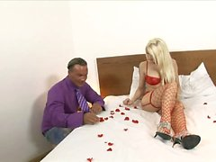 Stunning blonde in red lingerie fucks her man in the...