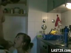 Great couple having some hot sex in the kitchen