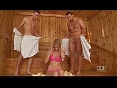 Beautiful Russian cutie Karina Grand Double penetrated in Sauna