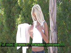 Franziska tender blonde babe walks down the street