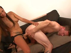 Sexy MILF Pegs Her Man with Huge Strap On