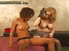 Chocolate and white lesbos fun