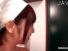 Busty Japanese nurse gets big boobs cummed