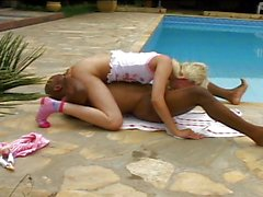 Hot blond teen is nailed in both holes black