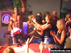 The male strippers have these ladies all riled up and...