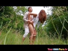 Latin cutie seduced stranger in the woods