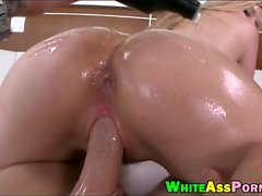 Oiled up booty whore pounded real hard by big fat dick