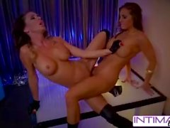 Intimate lesbians - Jessica Jaymes and Abigail mac strip a fuck for you