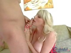 My horny blonde mom has huge tits and loves to get fucked