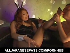 Mai has cunt and feet in fishnets licked