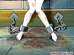 Chained hentai slave with bigboobs in the dungeon