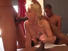 Blonde mature Gilf Interracial Gangbang