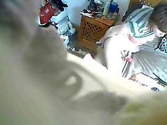 My mum masturbating caught by hidden cam on the closet