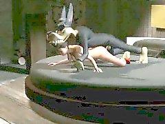 Seksikkäitä 3D-sarjakuva tyttö saada kuseen rajusti suden
