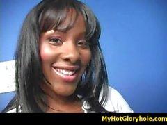 Black girl initiated in the art of gloryhole blowjob 16