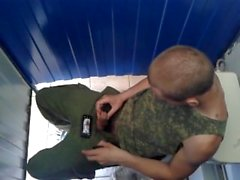 Str8 Hot Military Guy Wanking In Toilet Cubicle.